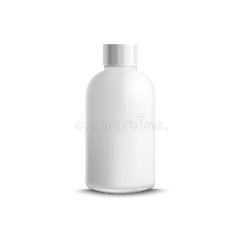 O recipiente pl?stico ou a garrafa vazia para o modelo cosm?tico l?quido do vetor isolaram-se ilustração royalty free