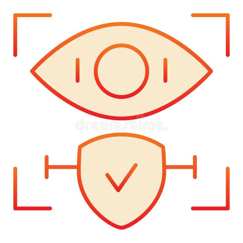 O reconhecimento da retina aprovou o ícone liso Identificação do olho e para verificar ícones vermelhos no estilo liso na moda Ac ilustração do vetor