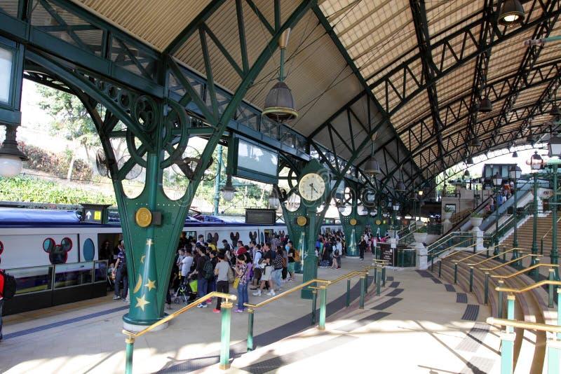 Hong Kong: Estação do recurso de Disneylândia imagens de stock