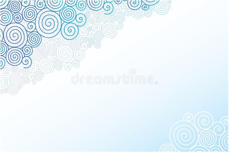 O redemoinho da garatuja nubla-se o fundo horizontal ilustração stock