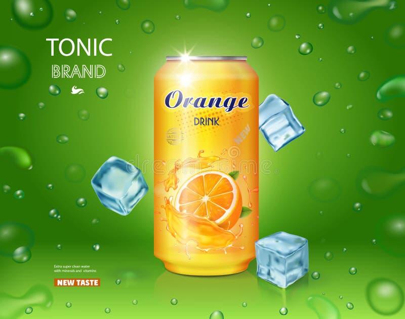 O refresco alaranjado contido na lata do metal amarelo, anúncios projeta com cubos de gelo ilustração do vetor