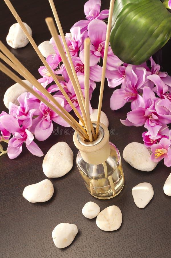 O refrogerador de ar cola em casa com flores e OU do backgr do foco foto de stock