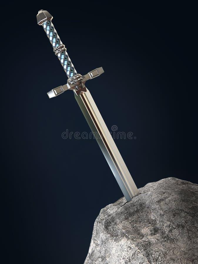o rei Arthur do excalibur da espada colou na pedra da rocha isolada rende metáfora do teste do candidato do candidato ilustração stock