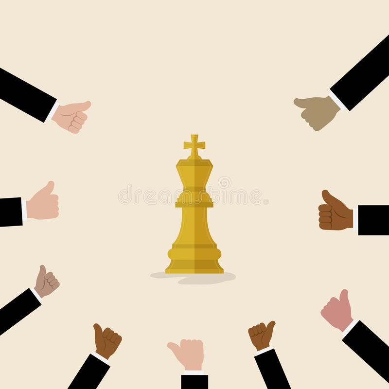 O rei do símbolo da xadrez com com muitos polegares levanta as mãos no backgroun ilustração stock
