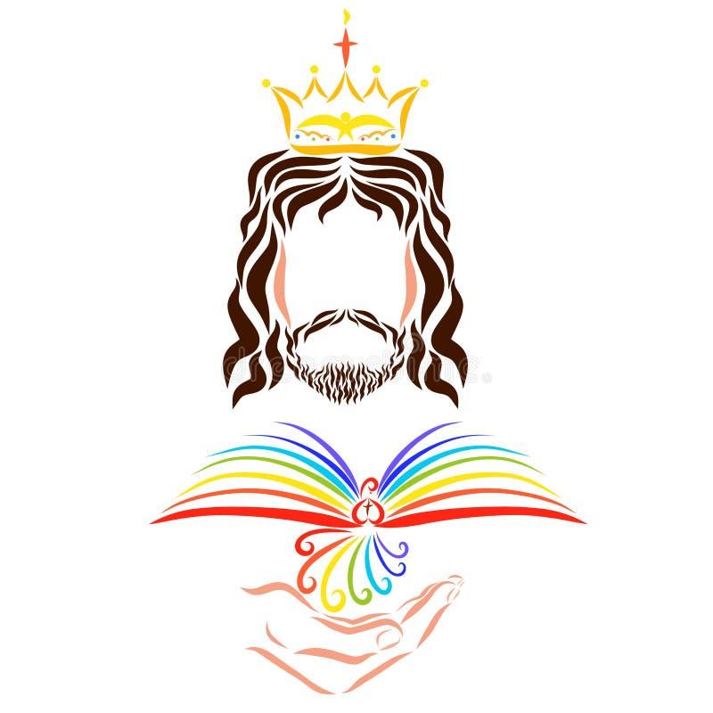 O rei Jesus realiza em sua mão um pássaro que olhares como um livro aberto ilustração do vetor
