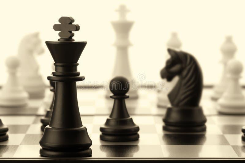 O Rei Preto Da Xadrez. Velho Tonificado Fotos de Stock Royalty Free