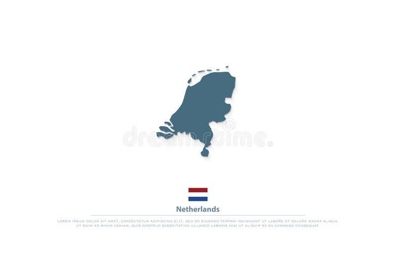 O reino dos Países Baixos isolou ícones da bandeira do mapa e do oficial ilustração royalty free