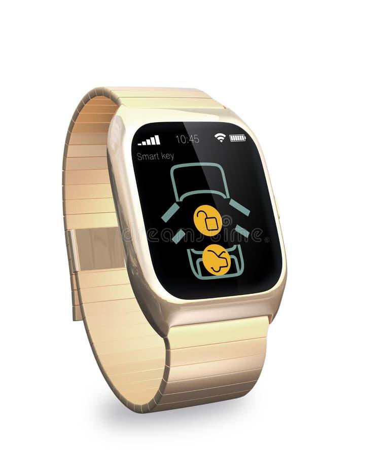 O relógio esperto com app para a fechadura da porta do carro e destrava ilustração do vetor