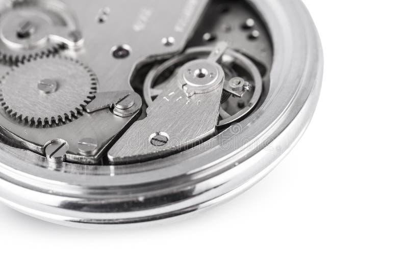 O relógio mecânico velho aberto foto de stock