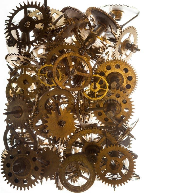 O relógio velho alinha o fundo isolado no branco foto de stock royalty free