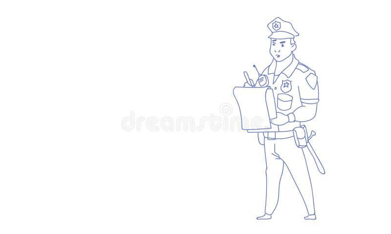 O relatório da escrita do polícia que veste o esboço uniforme do protetor da bobina rabisca horizontal ilustração do vetor