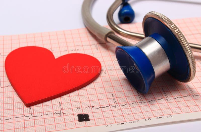 O relatório do gráfico do estetoscópio, do eletrocardiograma e o coração dão forma fotos de stock