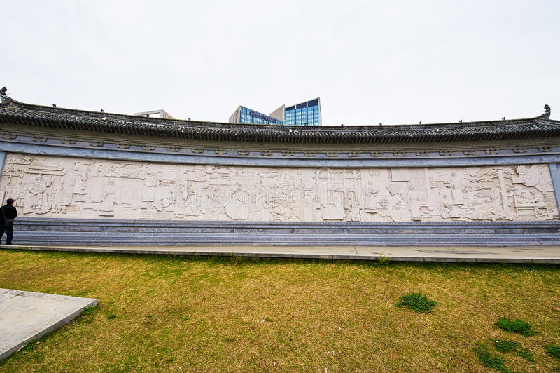 O relevo da parede da história de Huizhou imagens de stock