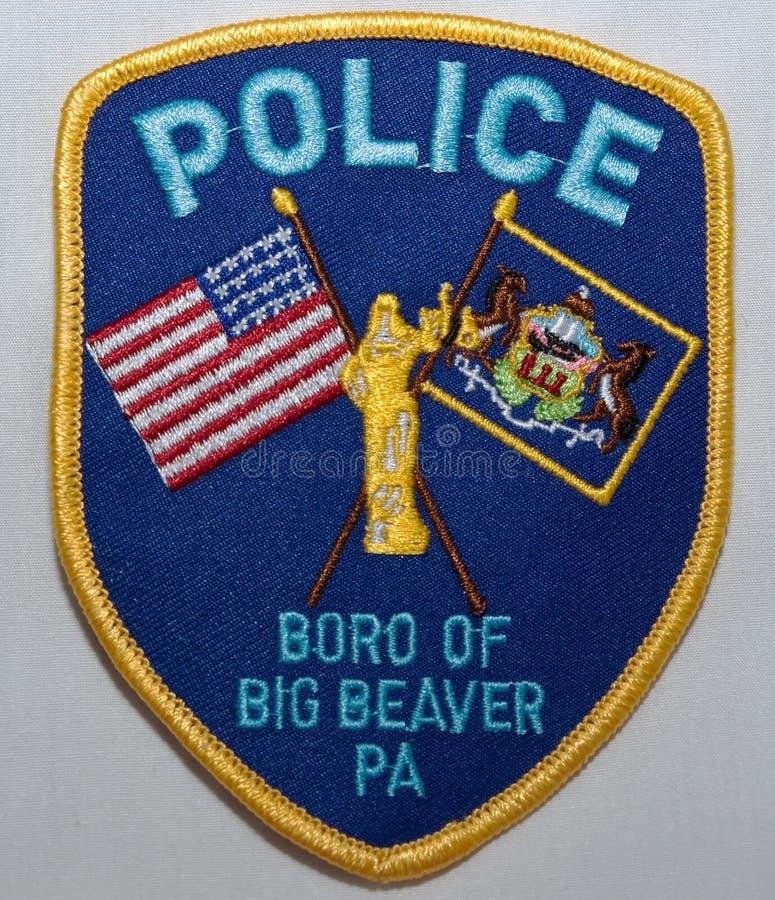 O remendo de ombro do Boro do departamento da polícia grande do castor em Pensilvânia fotografia de stock royalty free
