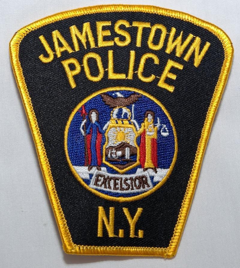 O remendo de ombro do departamento da polícia de Jamestown em New York imagem de stock