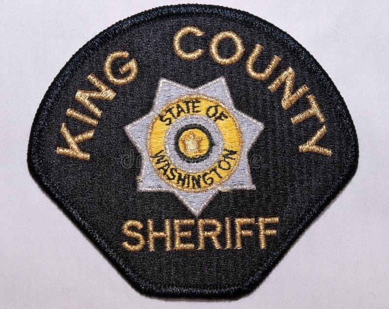 O remendo de ombro do rei County Sheriff Department em Washington imagens de stock
