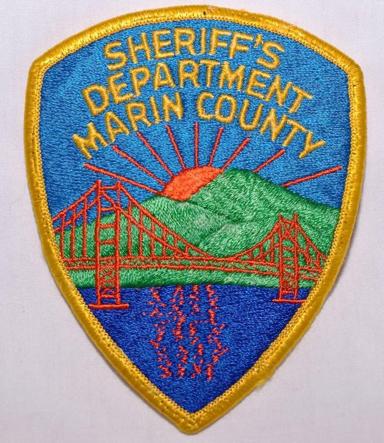 O remendo de ombro de Marin County Sheriff Department em Califórnia fotografia de stock royalty free