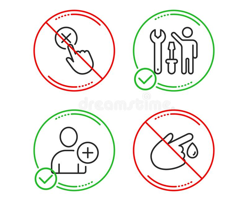 O reparador, adiciona o grupo dos ?cones do usu?rio e do clique da rejei??o Sinal da doa??o de sangue Vetor ilustração stock