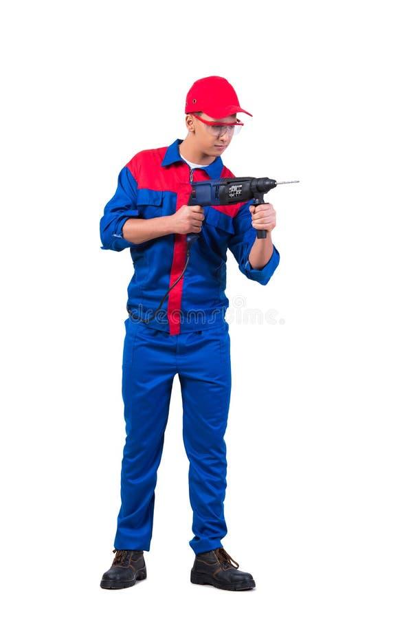 O reparador novo com o perfurador da broca isolado no branco foto de stock