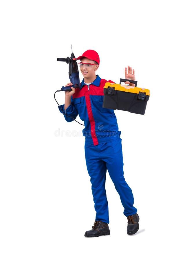 O reparador novo com o perfurador da broca isolado no branco fotos de stock