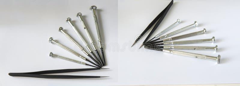 O reparo do relógio utiliza ferramentas chaves de fenda do tweezer foto de stock