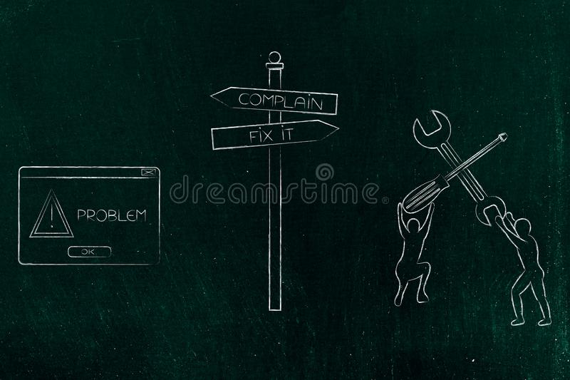 O reparo do sinal de estrada ou queixa-se na frente de um problema, com PNF-acima e ilustração stock
