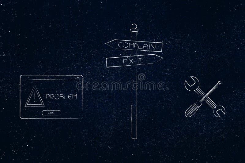 O reparo do sinal de estrada ou queixa-se na frente de um problema, com PNF-acima e ilustração do vetor