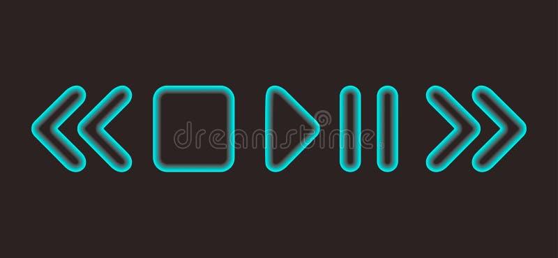 O reprodutor multimedia de incandescência da pausa/jogo do vetor arredondou ícones sobre o fundo escuro ilustração do vetor