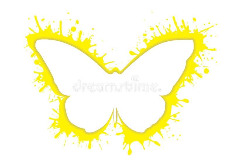 O respingo do ícone da silhueta da borboleta do sumário do respingo do borrão isolou o logotipo no branco ilustração do vetor