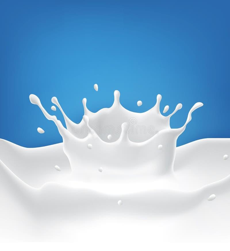 O respingo do leite do vetor com espirra isolado em um fundo azul ilustração royalty free