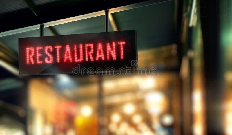 O restaurante conduziu o Signage ilustração royalty free