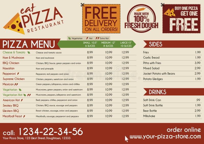 O restaurante da pizza leva embora o menu ilustração stock