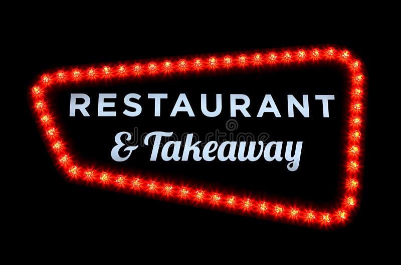 O restaurante e leva embora o sinal de néon imagens de stock