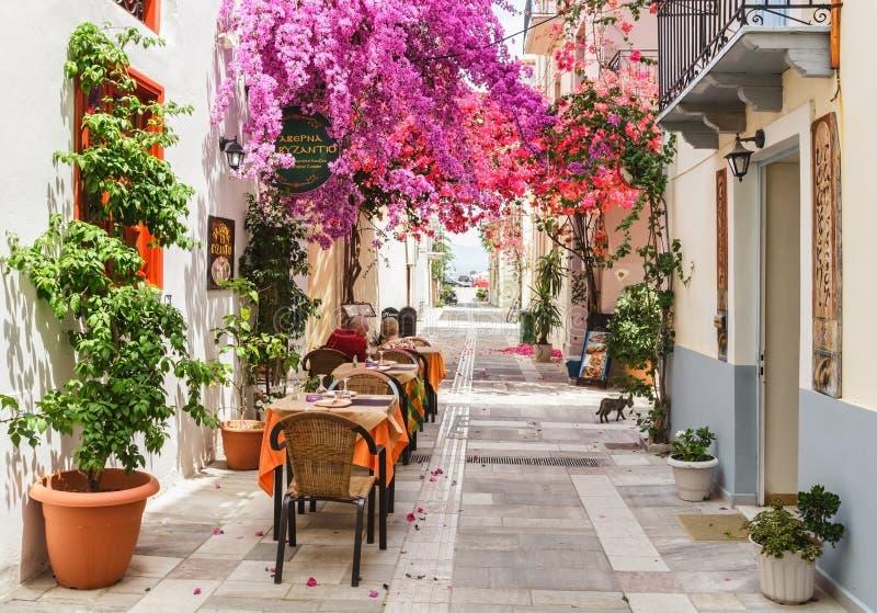 O restaurante exterior nas ruas estreitas da cidade de Nafplion com buganvília bonita floresce imagem de stock