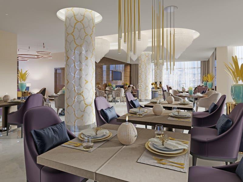 O restaurante luxuoso no hotel tem um design de interiores moderno, poltronas macias e serviu tabelas ilustração do vetor