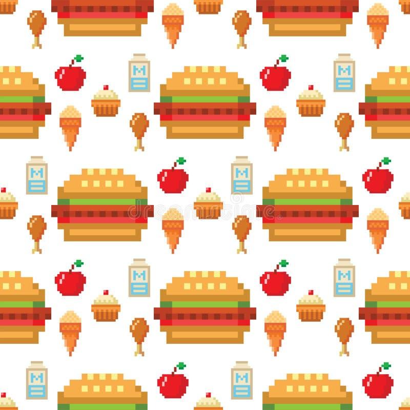 O restaurante sem emenda da ilustração do vetor do fundo do teste padrão do projeto do computador do alimento da arte do pixel pi ilustração stock