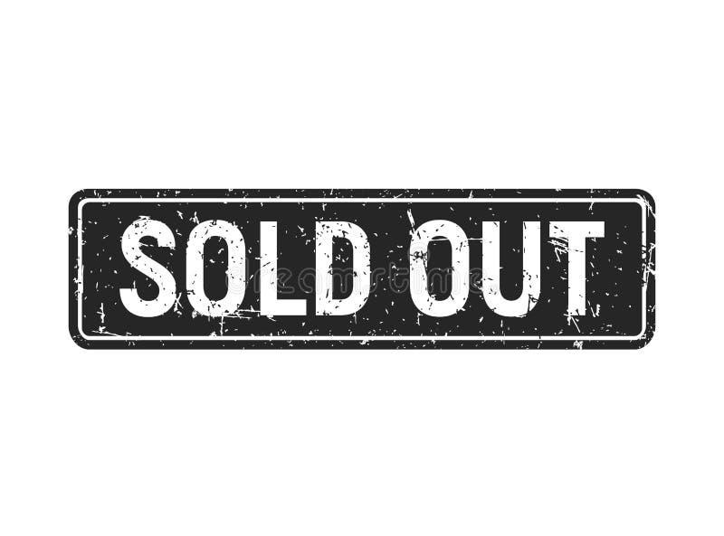 O retângulo preto para fora vendido do selo do grunge isolado no fundo branco, venda textured o molde do crachá ilustração do vetor