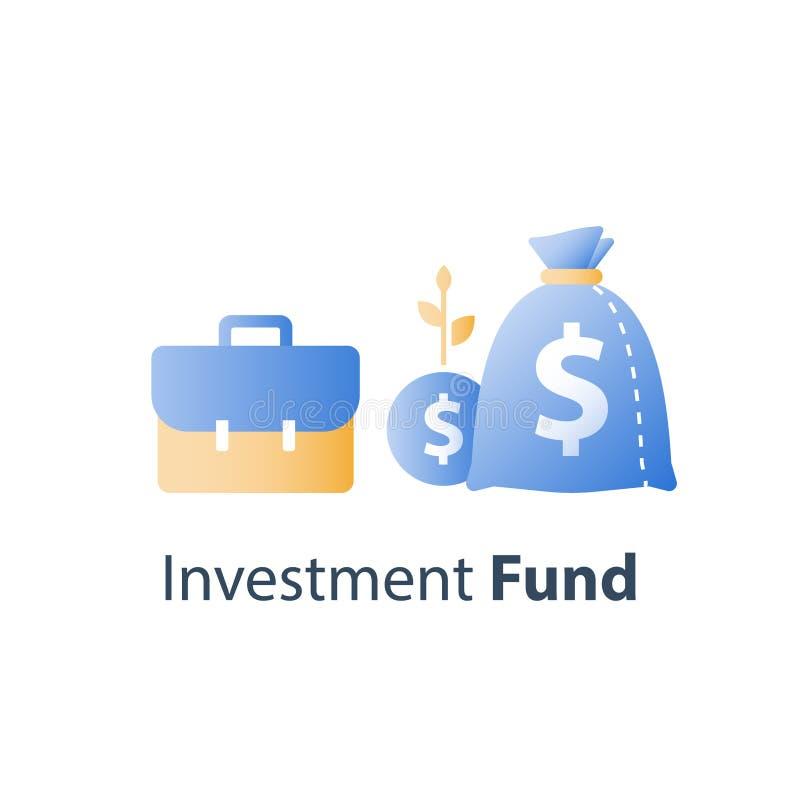 O retorno sobre o investimento, relat?rio financeiro do crescimento, gest?o de fundo, aumento do rendimento, taxa de juro, ganha  ilustração royalty free