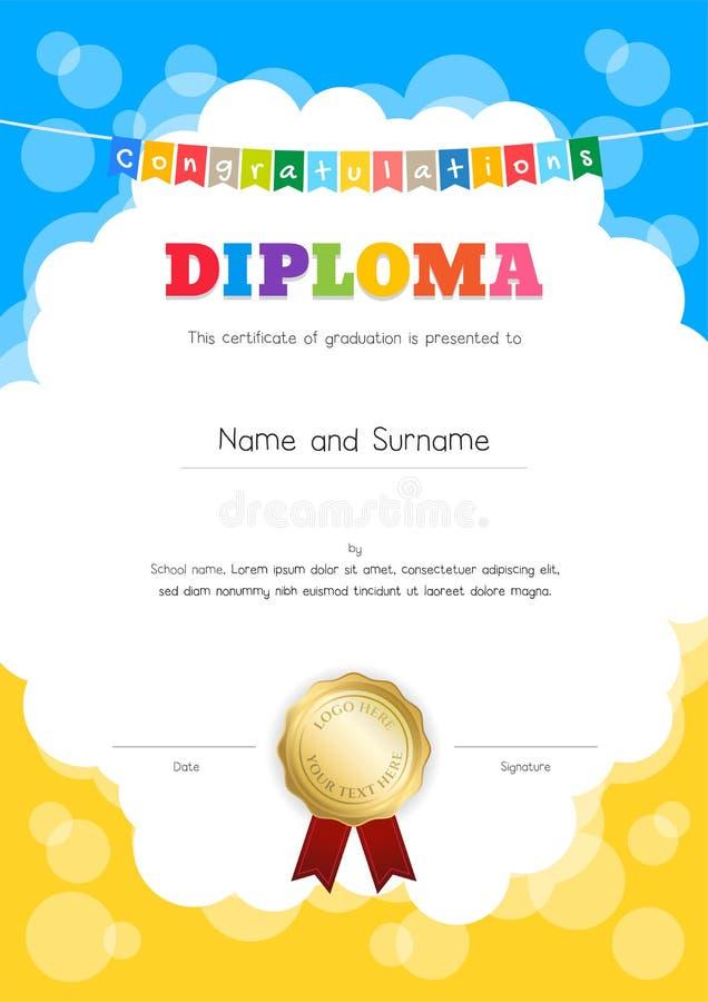 O retrato caçoa o diploma ou o certificado da sagacidade do molde do awesomeness ilustração stock
