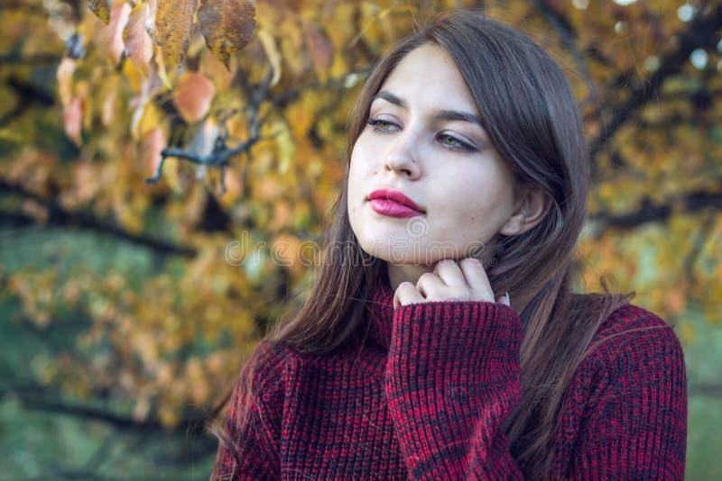 O retrato colorido bonito de uma mulher em uma camiseta vermelha e o batom brilhante no outono estacionam Conceito do humor do ou fotos de stock