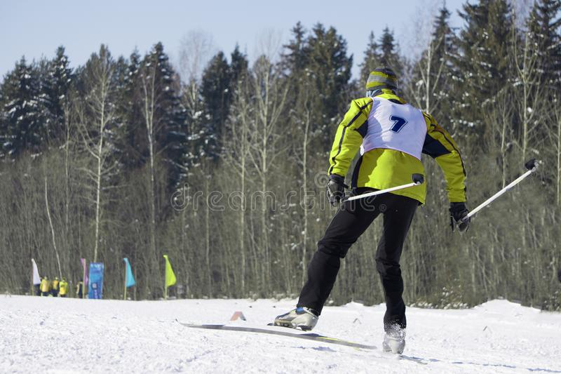 O retrato completo do comprimento de um esquiador fêmea que está com um pé aumentou em uma inclinação do esqui em um dia ensolara imagens de stock royalty free