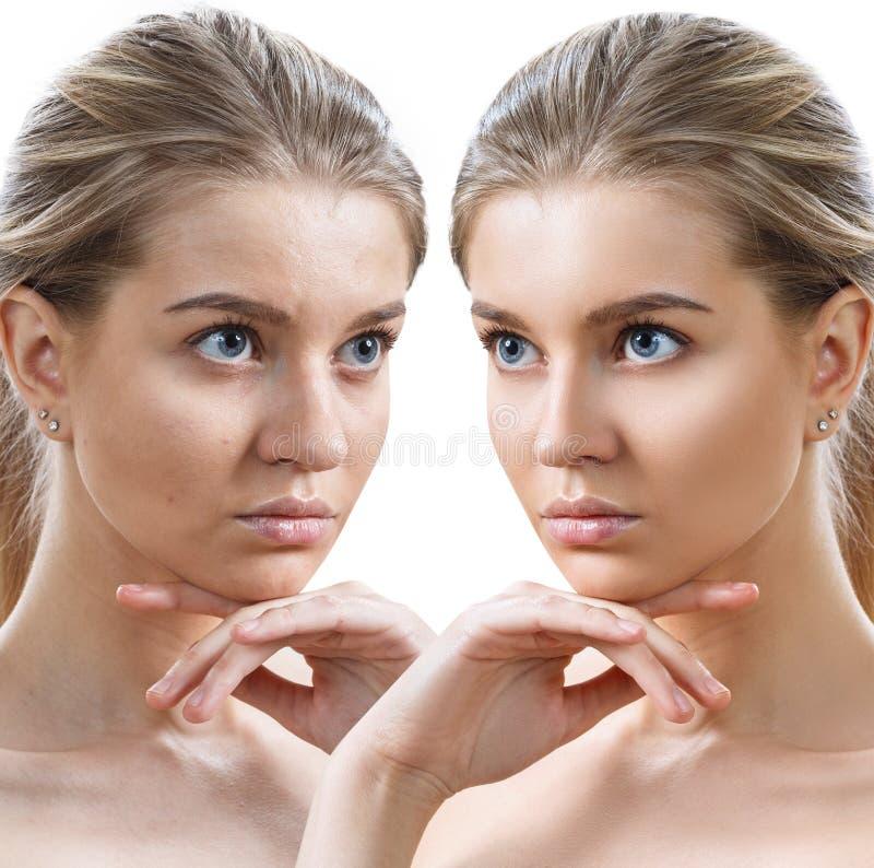 O retrato da compara??o da jovem mulher antes e depois de retoca fotos de stock