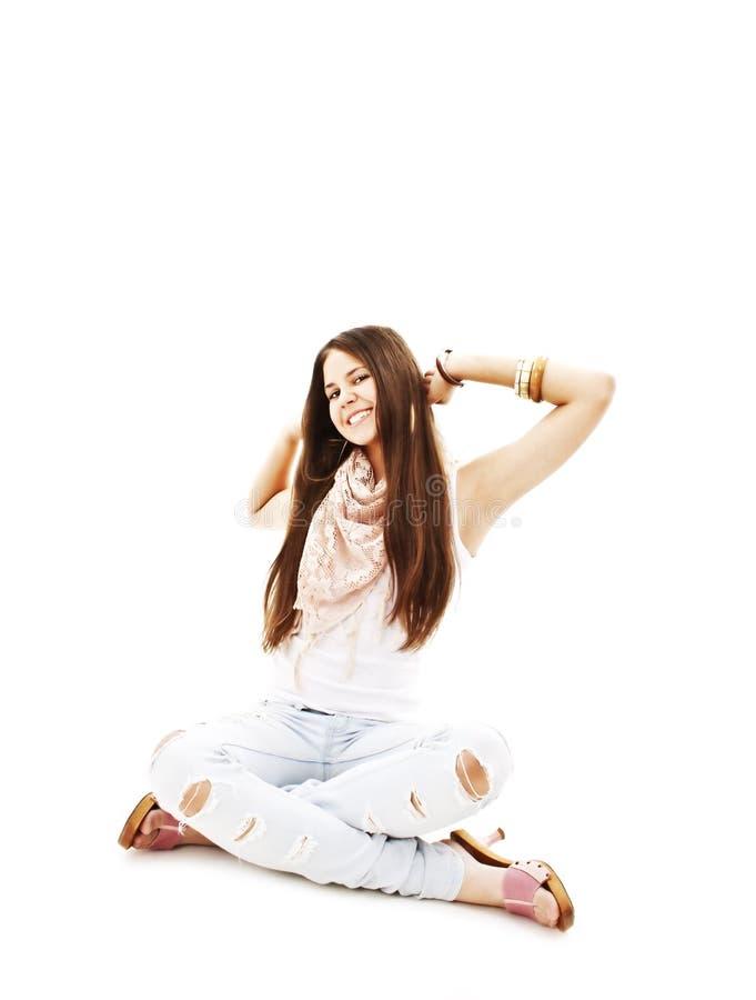 O retrato da menina excited feliz com braços estendeu imagens de stock royalty free