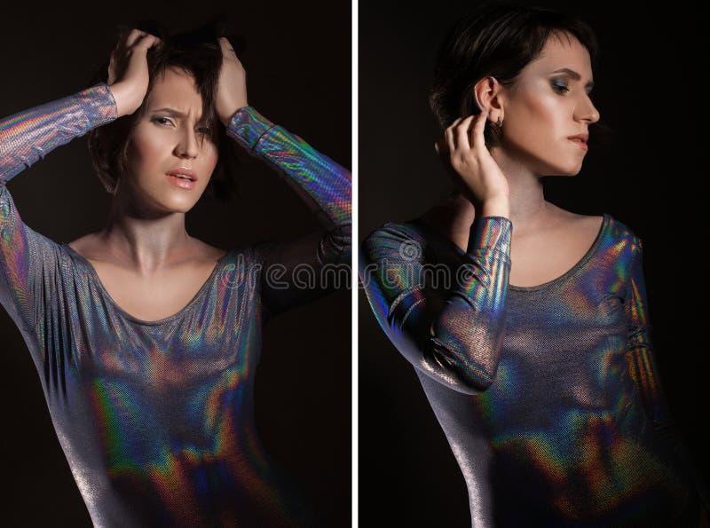 O retrato da mulher bonita com espaço de néon azul compõe e brilha no pescoço e na cara em brilhante cinzento da forma imagens de stock