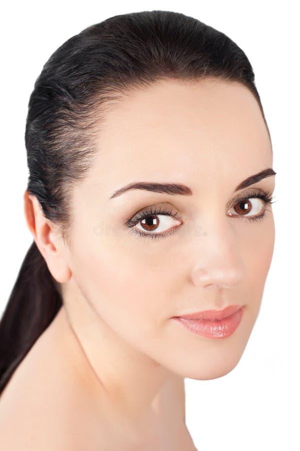 O retrato da mulher bonita com natural compo fotos de stock