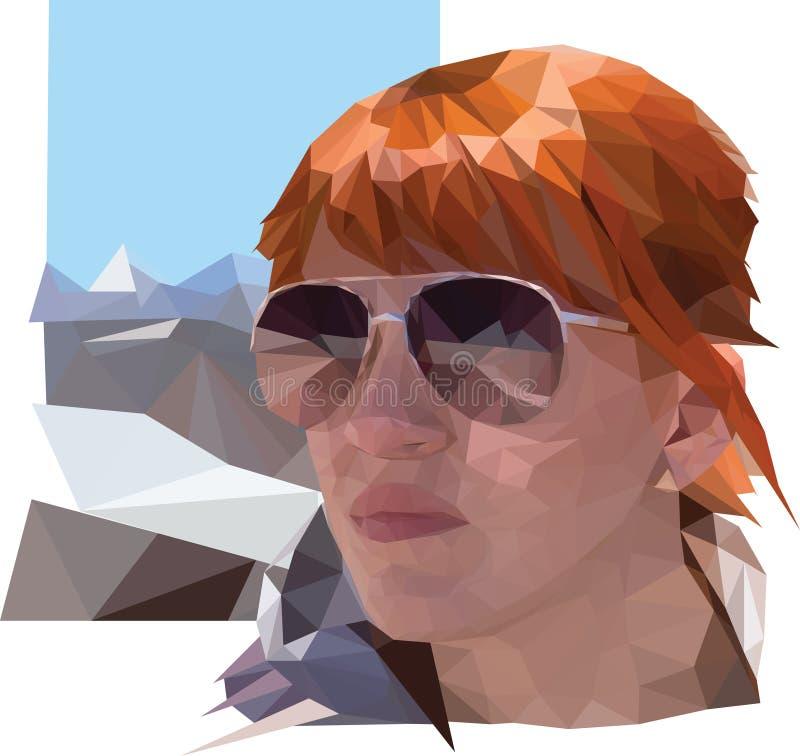 O retrato da mulher com cabelo vermelho e os vidros na montanha ajardinam ilustração royalty free