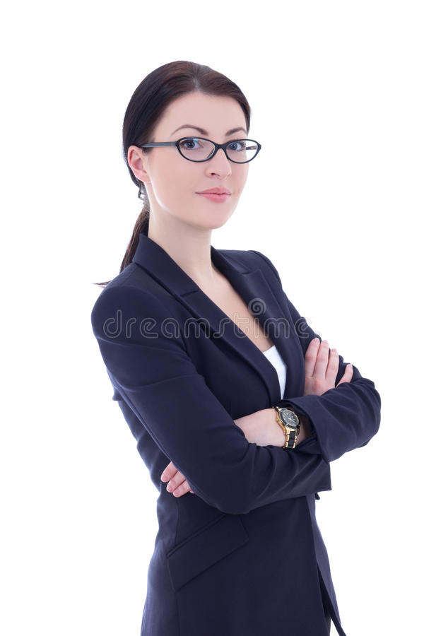 O retrato da mulher de negócio bonita nova nos vidros isolou o fotografia de stock