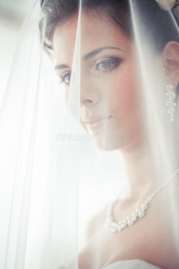 O retrato da noiva com um véu cobriu a cara imagem de stock
