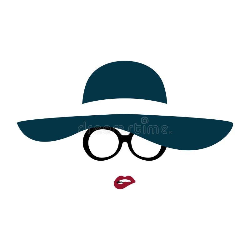 O retrato da senhora no chapéu e em vidros graciosos morde seu bordo ilustração royalty free