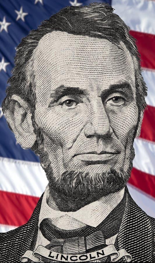 O retrato de Lincoln na nota de dólar dos E.U. cinco fotos de stock royalty free